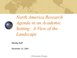 North America Research Agenda