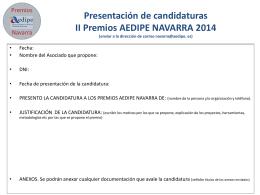 Presentación de candidaturas premios AEDIPE