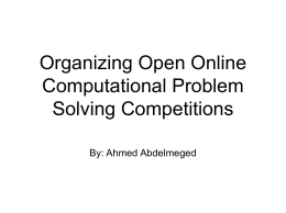 Organizing Open Online Computational Problem