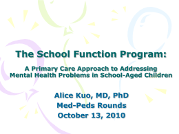 The School Function Program: A Primary Care