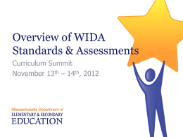 C&I Summit 2012: WIDA