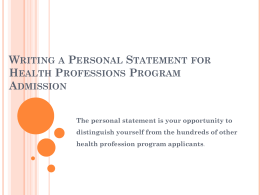 Writing a Personal Statement for Health