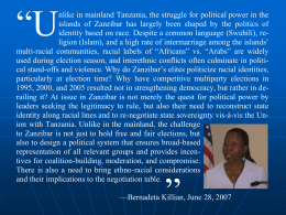 Identity Politics in Zanzibar and Challenges to