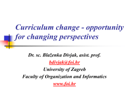 Curriculum change - opportunity for changing