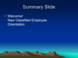 Welcome New Classified Employee Orientation