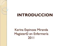 Karina Espinoza Miranda Magister© en Enfermería