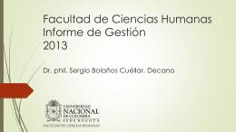 Facultad de Ciencias Humanas – Informe de Gestión