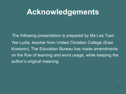 Acknowledgements - Education Bureau