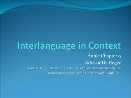 Interlanguage in Context