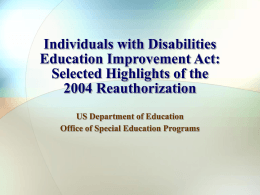IDEA Reauthorization 2004
