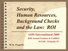 Security, Human Resources, Background Checks and