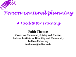Person-Centered Planning Individual Facilitation
