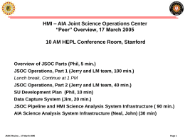 "HMI – AIA Joint Science Operations Center ""Peer"""