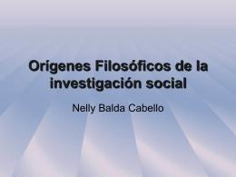 Orígenes Filosóficos de la investigación social