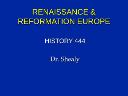 RENAISSANCE & REFORMATION EUROPE