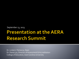 Presentation at the AERA Research Summit