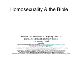 Homosexuality & the Bible