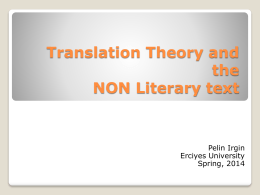 Translation Theory and the non literary text 1