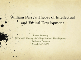 William Perry's Theory of Intellectual and Ethical