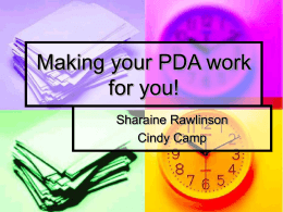 Making your PDA work for you!