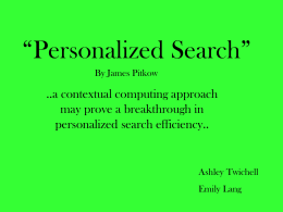 "Personalized Search"" - Duke Computer Science"