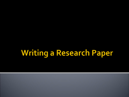 Writing a Research Paper - Ohio Literacy Resource