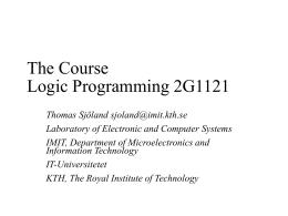 Logic Programming 2G1121