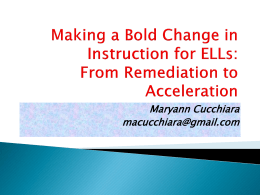 Making a Bold Change in Instructional Practice for