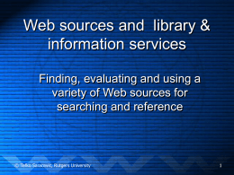Searching and the Web - Rutgers University School