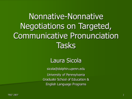L2 Pronunciation and Cooperative, Task