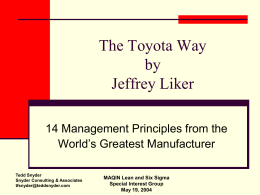 The Toyota Way - Snyder Consulting & Associates