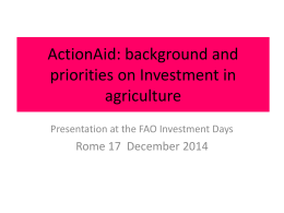 ActionAid: background and priorities on Land and