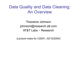 Data Quality and Data Cleaning: An Overview -