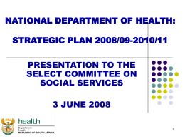 NATIONAL DEPARTMENT OF HEALTH: STRATEGIC PLAN
