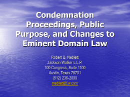 The Use of Eminent Domain in Water Resources