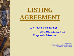 LISTING AGREEMENT - The Institute of Company
