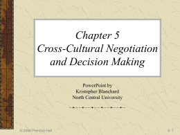 Chapter 5 Cross-Cultural Negotiation and Decision
