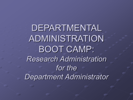 Research Administration for the Departmental