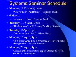 Systems Seminar Schedule