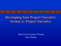 Developing Your Project Narrative Section A: