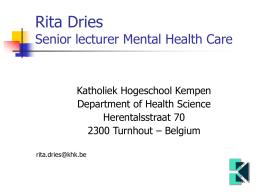 Rita Dries and Peter Verheyen Senior lecturers
