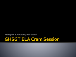 GHSGT ELA Cram Session