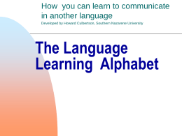 The Language Learning Alphabet