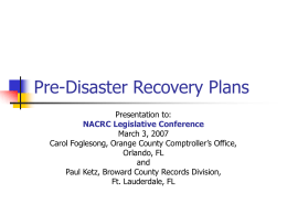 Pre-Disaster Recovery Plans