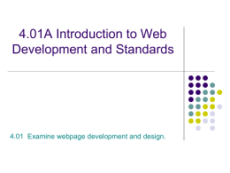 Web Site Development Competency 8 Create a