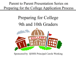 Preparing for College - Montgomery County Public