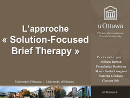 L'approche « Solution-Focused Brief Therapy