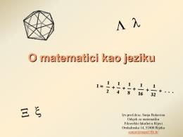 Matematika kao jezik - University of Rijeka