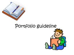 Portfolio guide line