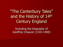 "The Canterbury Tales"" and the History of 14th"